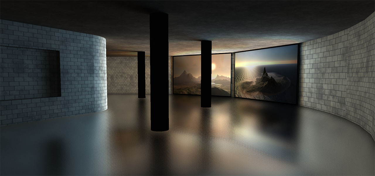 An indoor scene rendered with planar reflections