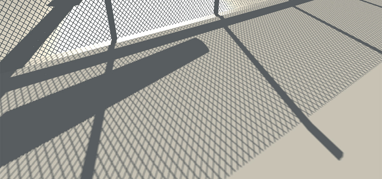 High quality precomputed shadows cast by a mesh fence